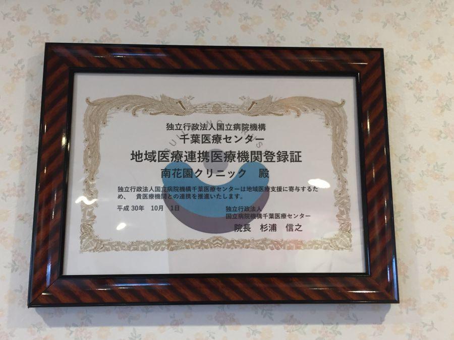 南花園クリニックが国立病院機構千葉医療センターの地域医療連携医療機関に登録されました  (千葉市 花見川区 脳神経外科)